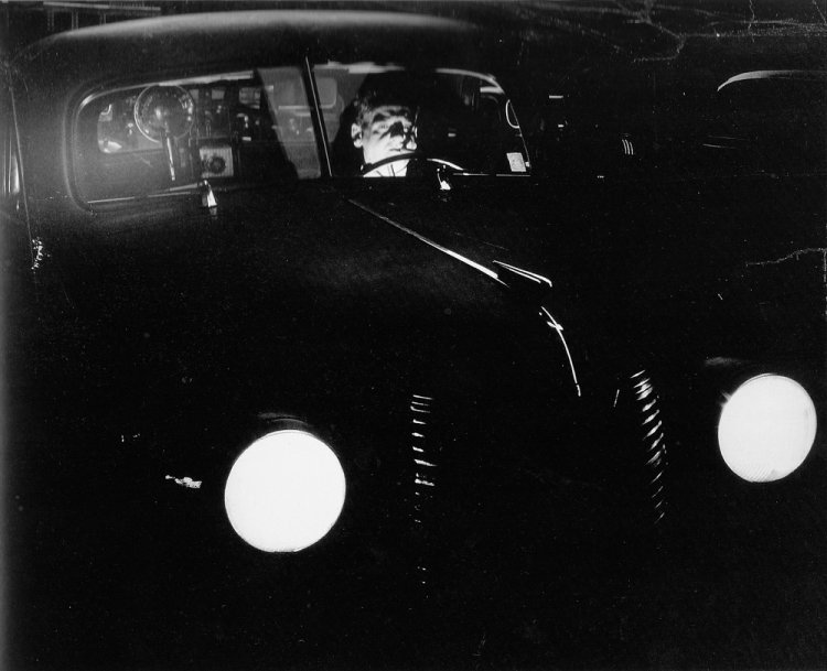 Weegee - Leaving at midnight from Police Headquarters on My Strange Mission