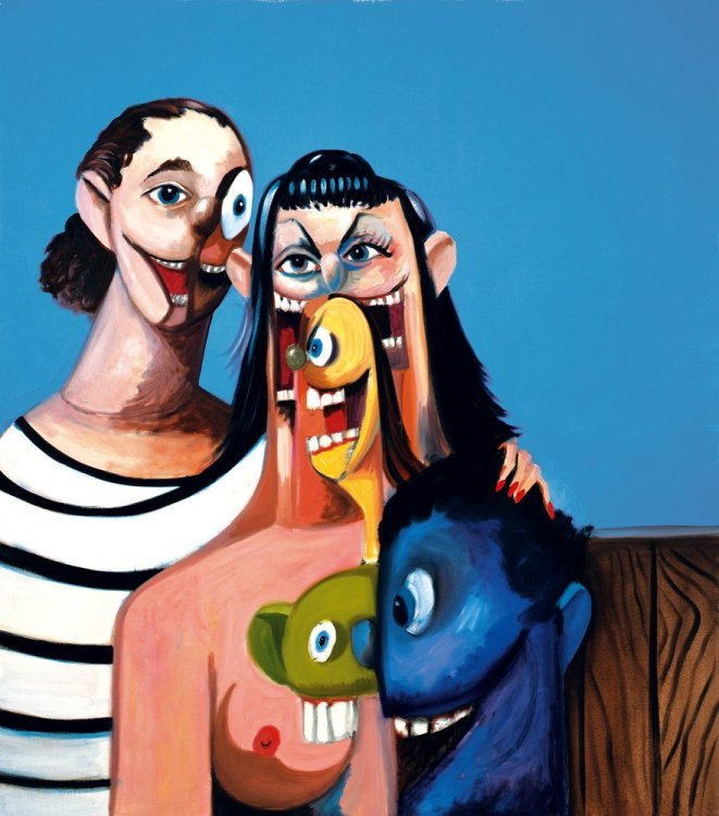 George Condo - Outdoor family
