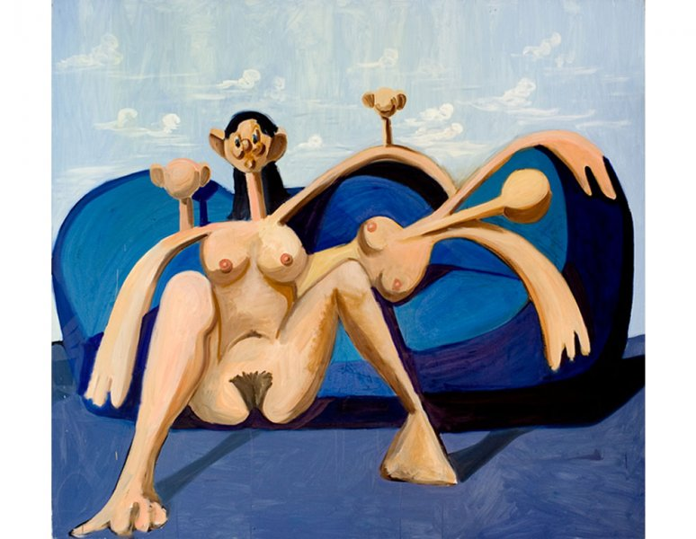 George Condo - Figures on a Blue Couch