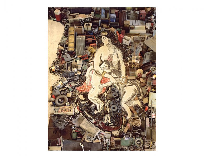Vik Muniz - Medea about to kill her children, after Eugene Delacroix. (Pictures of junk).