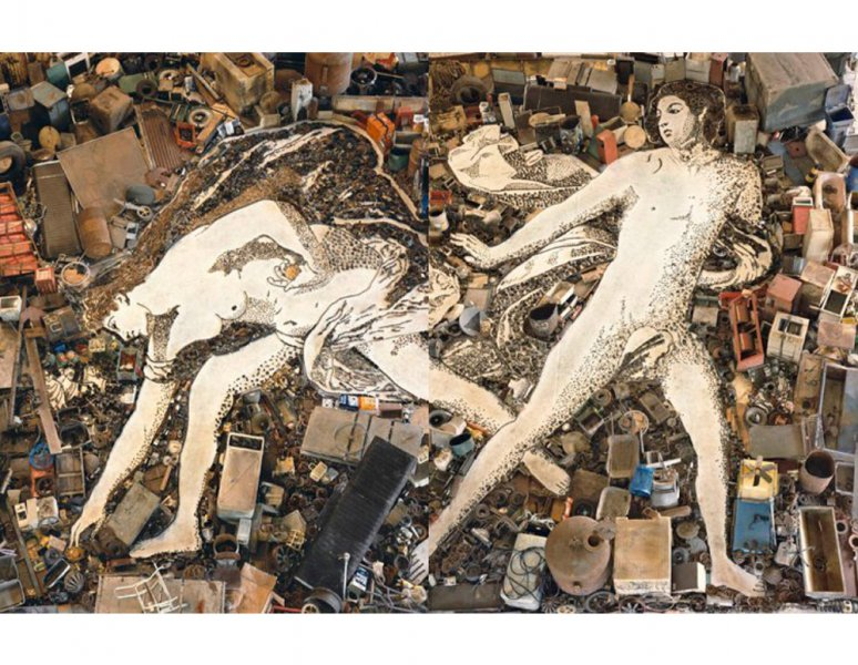 Vik Muniz - Atalanta and Hippomenes, after Guido Reni – Diptych. (Pictures of junk).