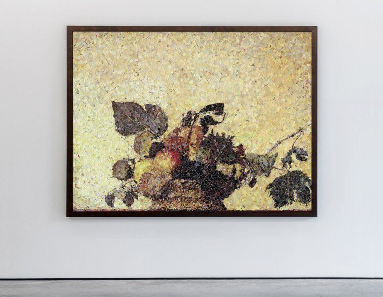 Vik Muniz - Still life with a Bouquet of Fruits, after Caravaggio. «Pictures of magazines»