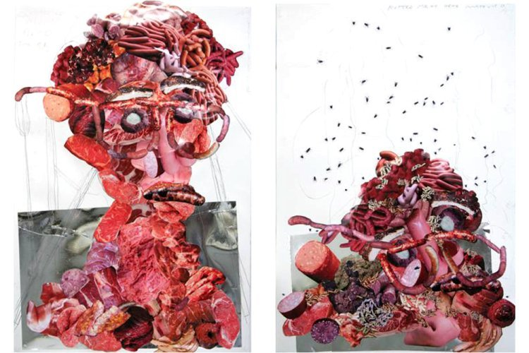 Tony Matelli  - Meat head. Collage. (Diptych)
