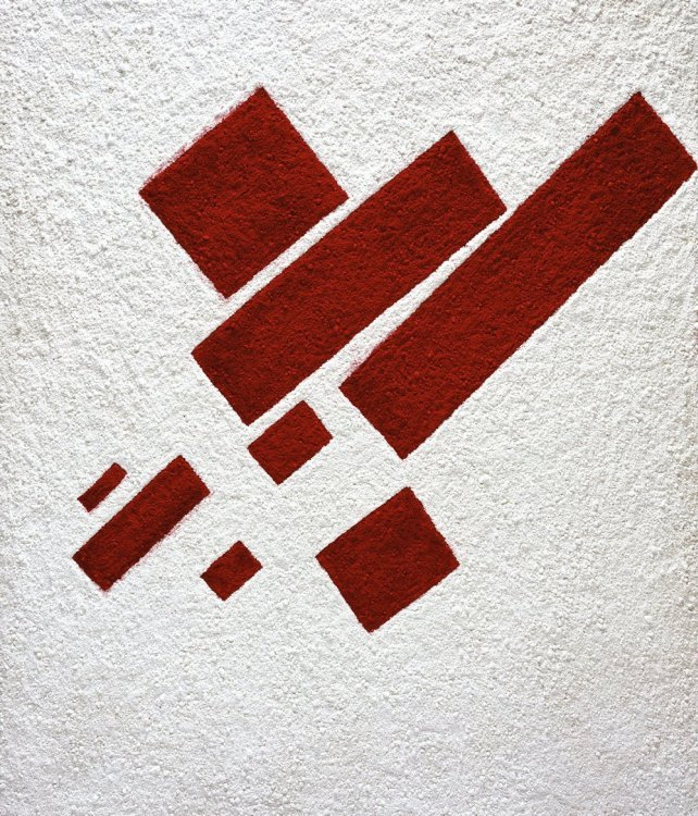 Vik Muniz - Suprematist composition: eight red rectangles, after Kazimir Malevich