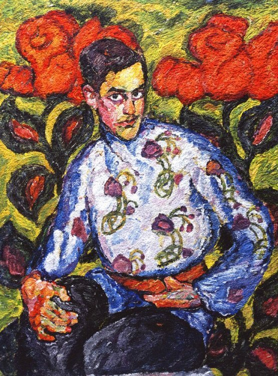 Vik Muniz - Portrait of a boy in painted shirt, after Ilya Mashkov