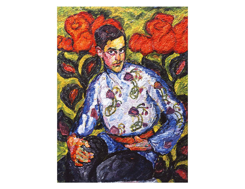 Portrait of a boy in painted shirt, after Ilya Mashkov