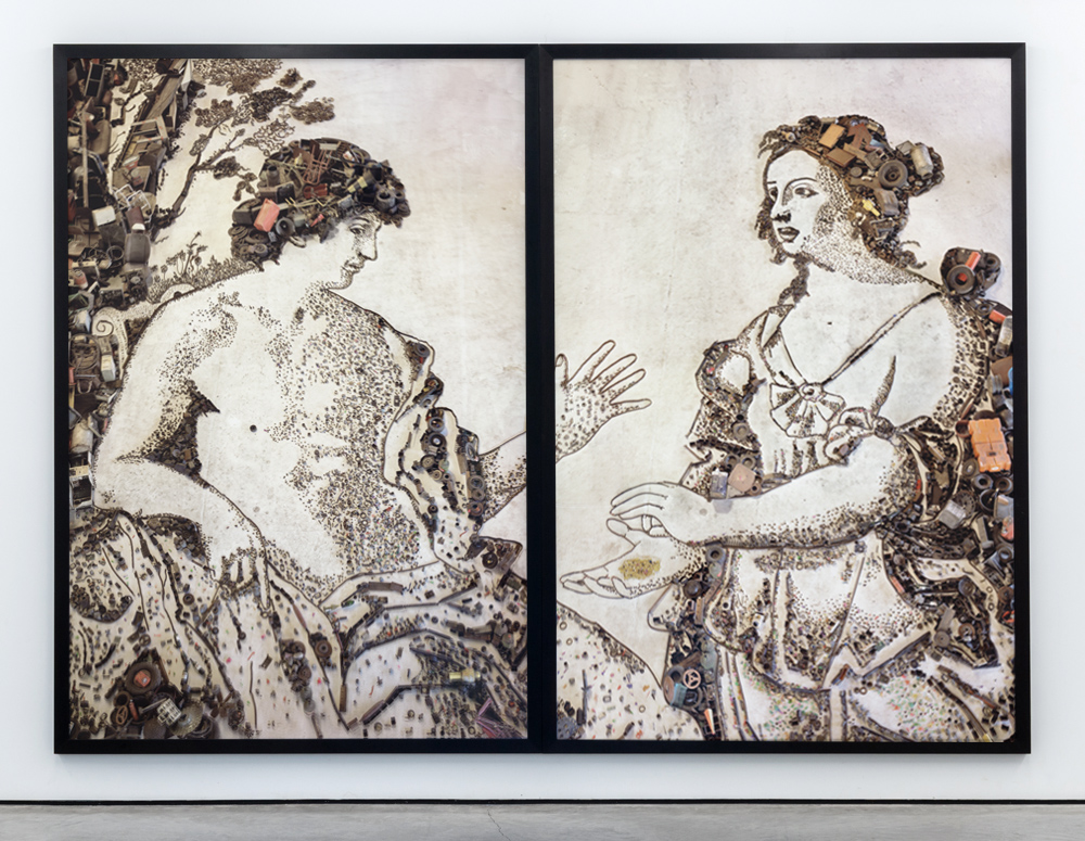 Vik Muniz - Apollo and the Cumaean Sibyl, after Giovanni Domenico Cerrini. (Pictures of junk).