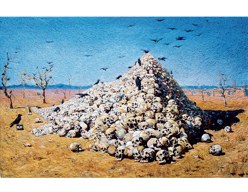 The Apotheosis of war, after Vereshchagin